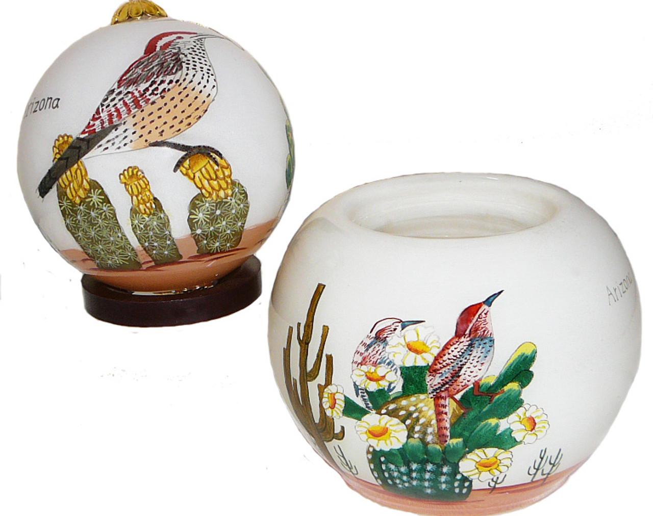 """AZ Cactus Wren - 3"""" Ornament Set of 2"""