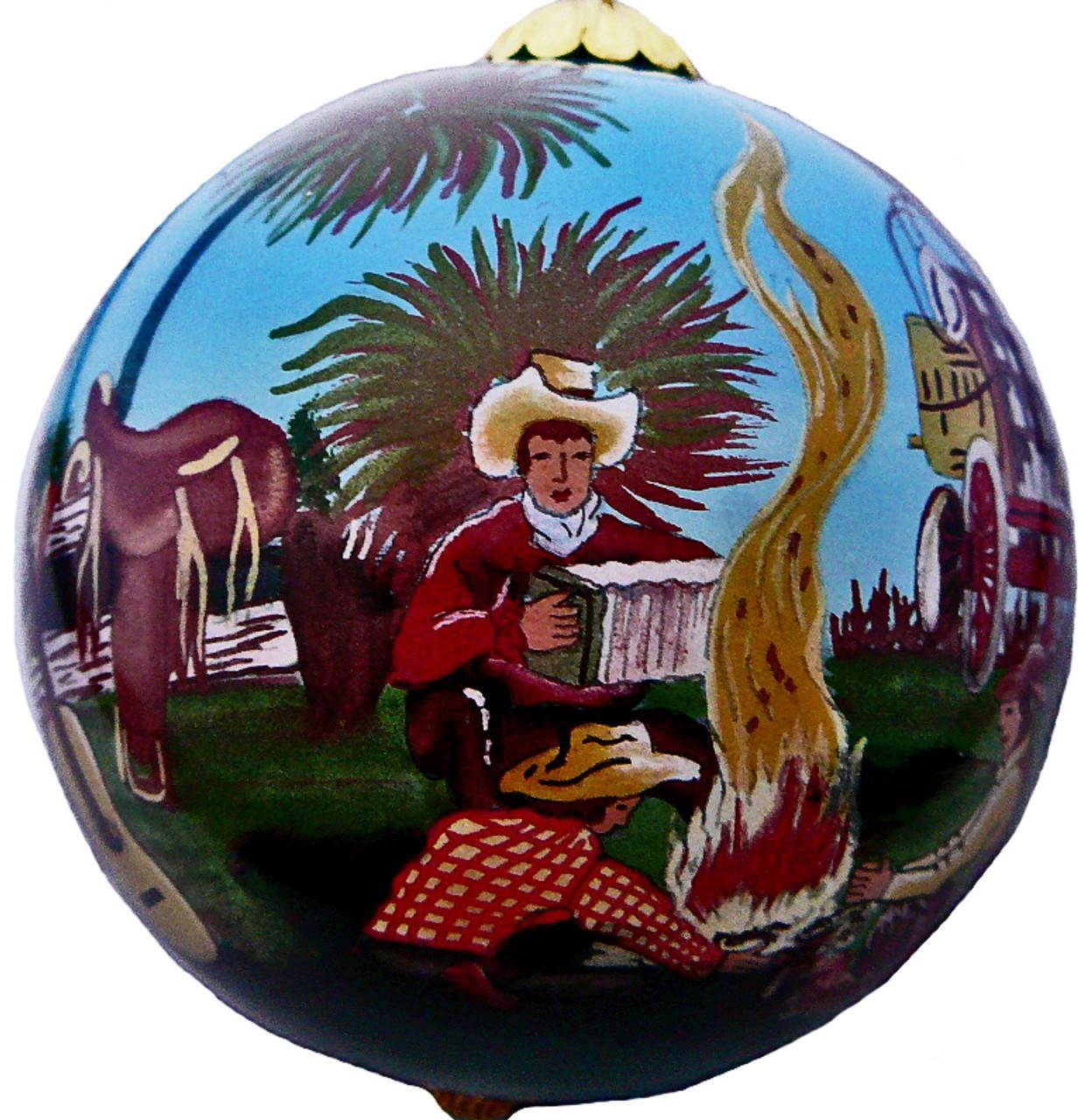 """Cowboy Campfire - 3"""" Ornament Set of 2"""