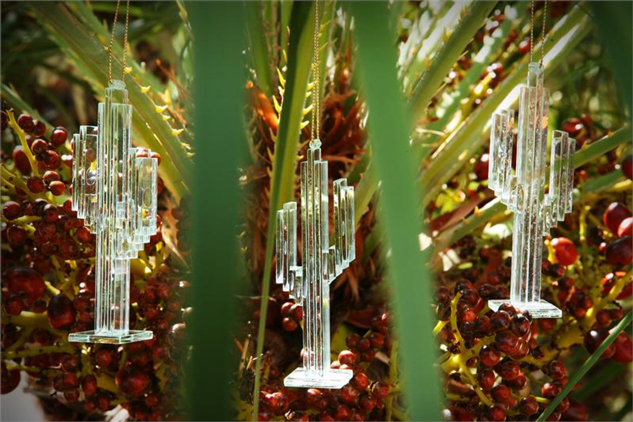 Glass Cactus Ornament - Set of 2
