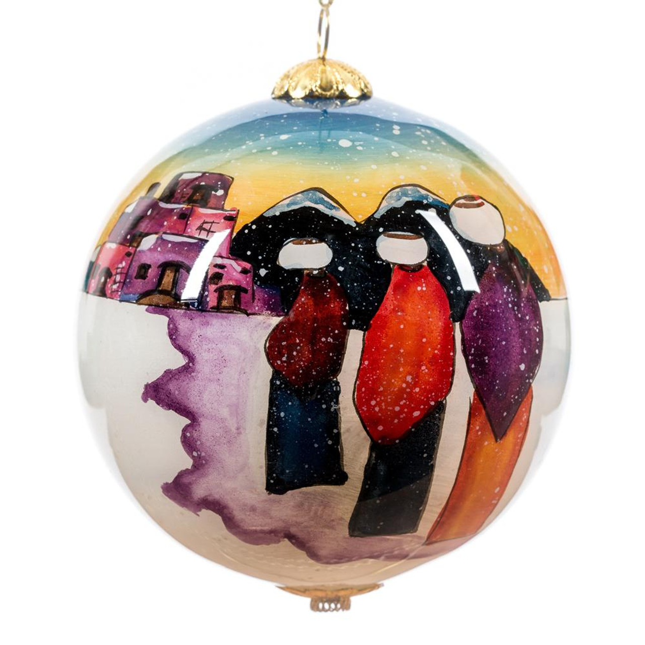 "Taos at Twilight - 3"" Ornament Set of 2"