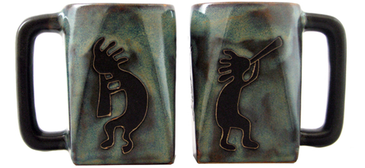Mara Square Mug 12oz - Blue Kokopelli