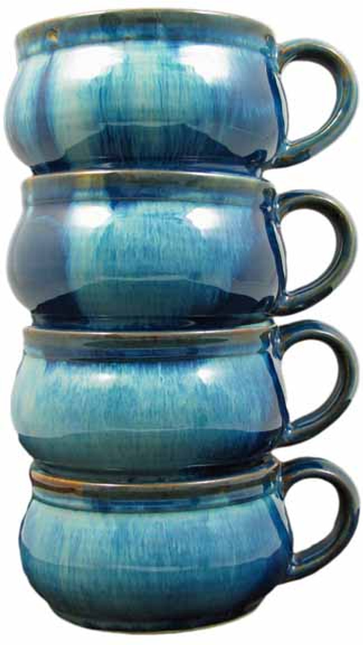 Stoneware Stacking Soup Cups - Set of 4 - (Medium Blue - OUT-OF-STOCK UNTIL APPROX FEB 21)