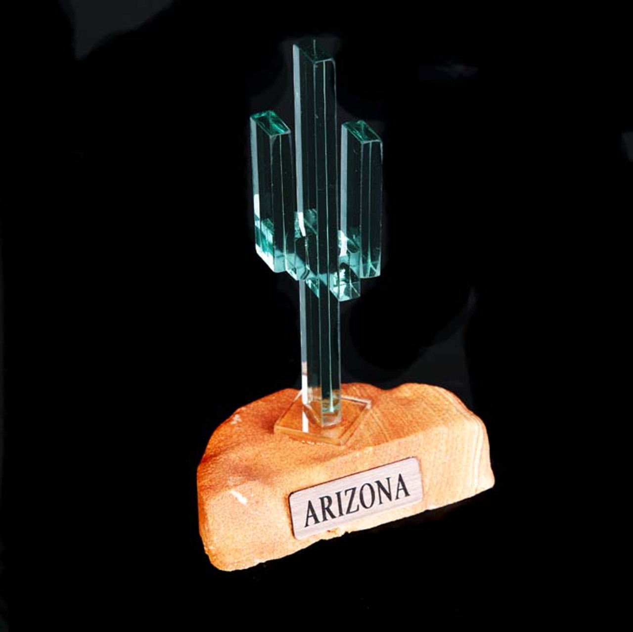 "Vertical Glass Cactus 4"" w/Sandstone"