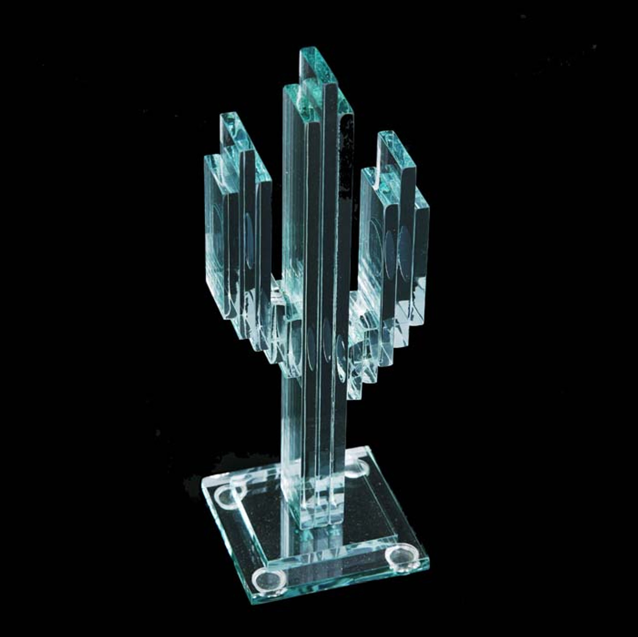 "Vertical Glass Cactus 7"" w/Glass Base"