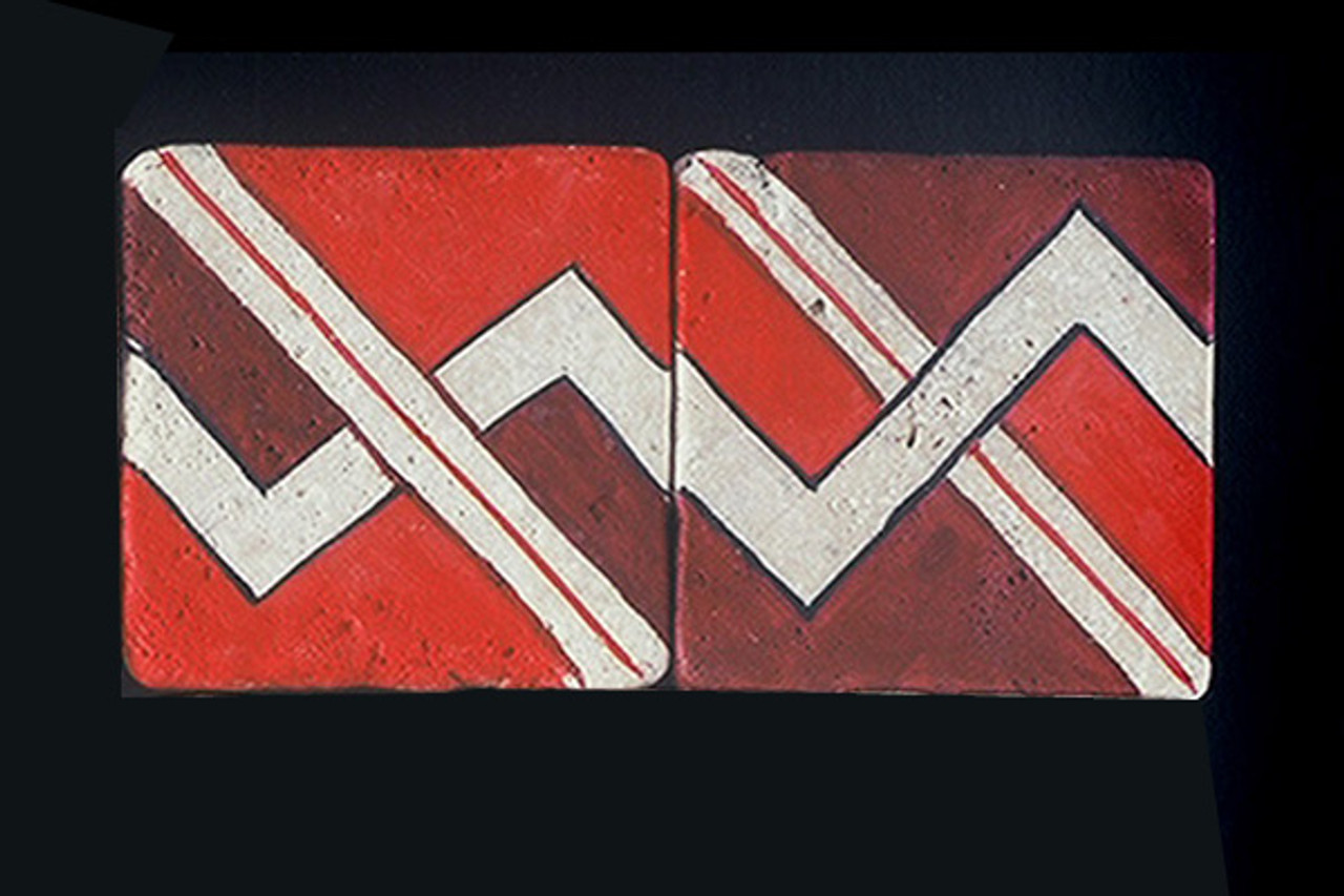 """Red on White 3""""x3"""" Border Tile"""