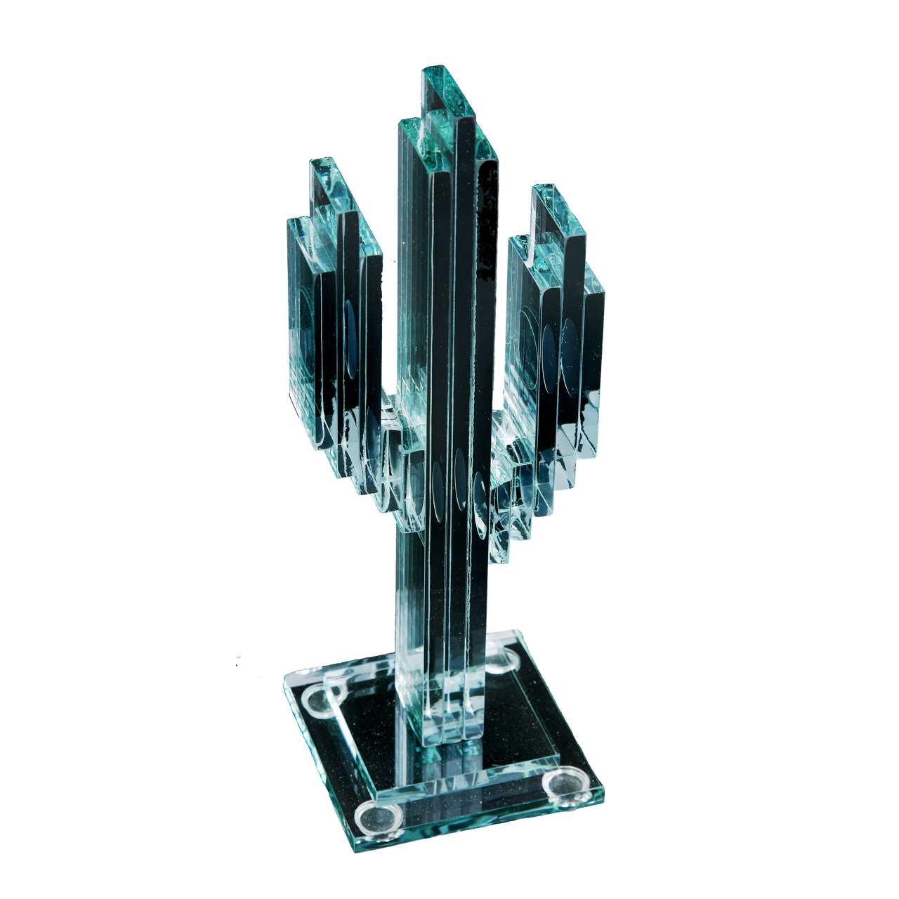 """Vertical Glass Cactus 8"""" w/Glass Base"""