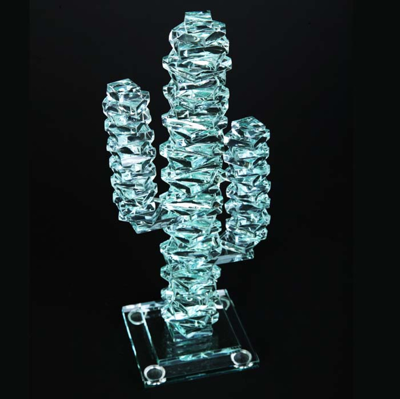 """Stacked Glass Cactus 12"""" w/Glass Base"""