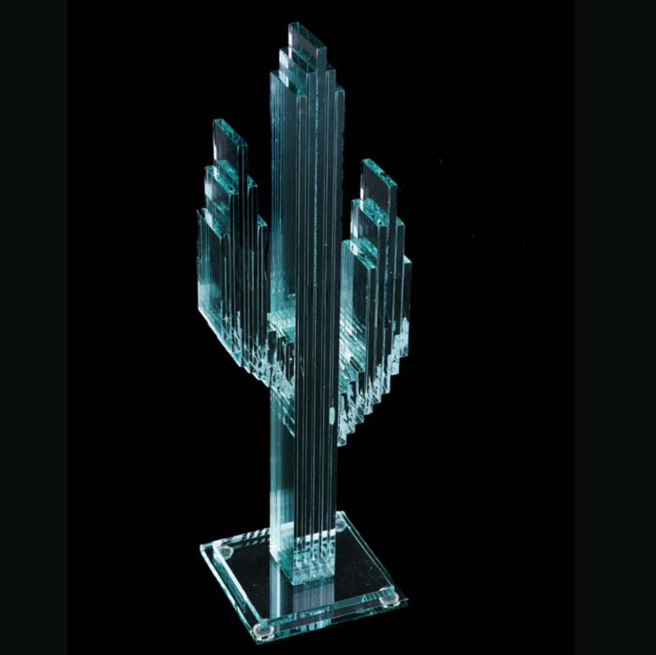 """Vertical Glass Cactus 15"""" w/Glass Base"""