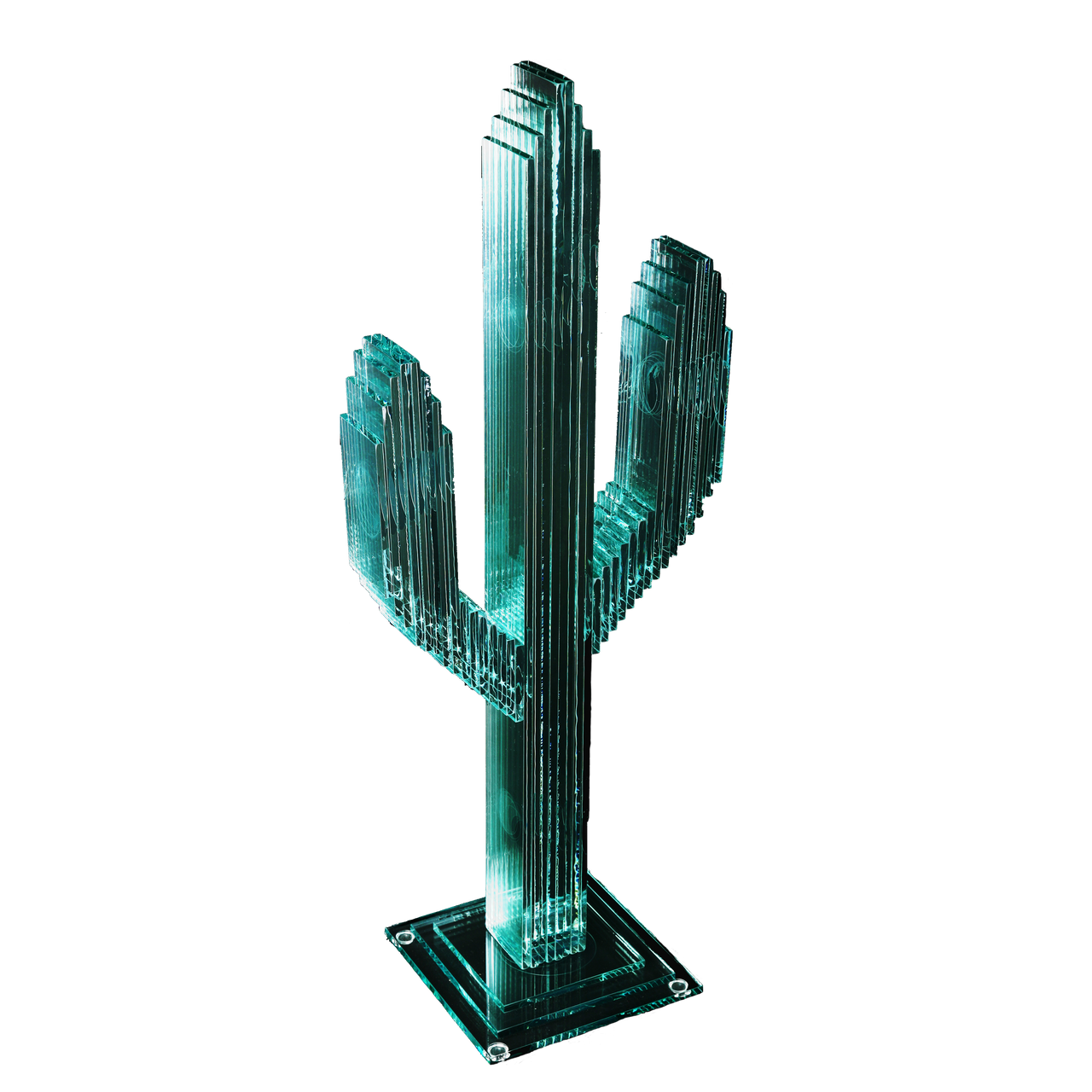 """Vertical Glass Cactus 23"""" w/Glass Base"""