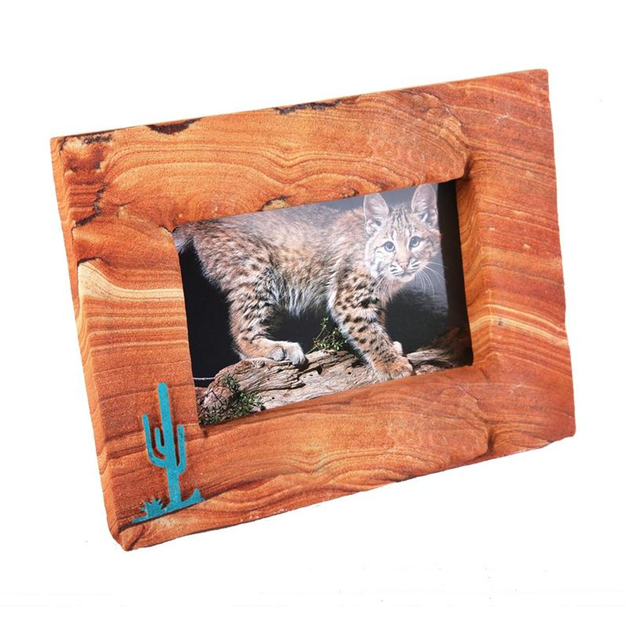 Sandstone Picture Frame w/Turquoise Saguaro - Landscape