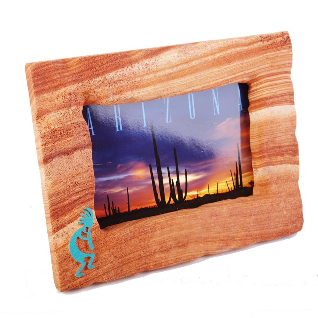 Sandstone Picture Frame w/Turquoise Kokopelli - Landscape