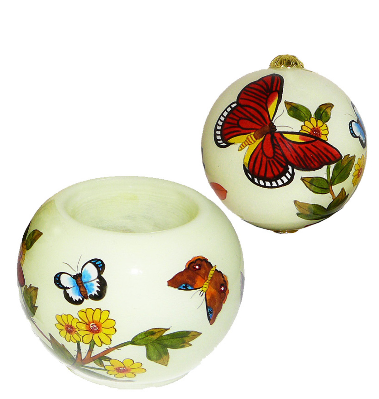 "Yellow Butterflies - 3"" Ornament Set of 2"
