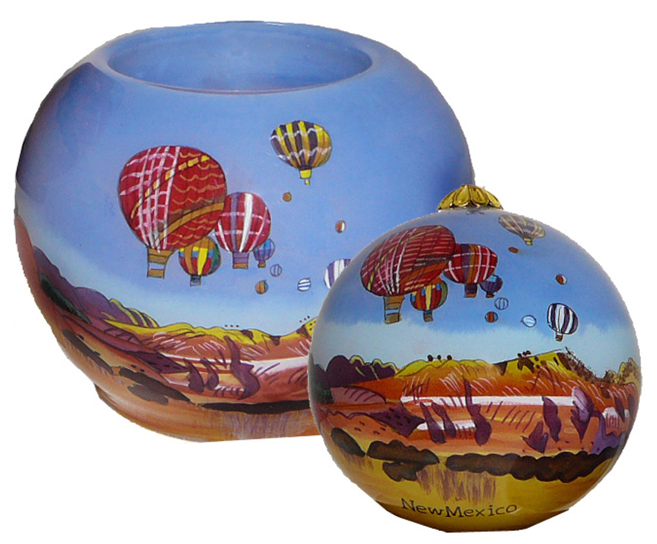 """Hand Painted New Mexico Balloon Glass 3"""" Ornament"""
