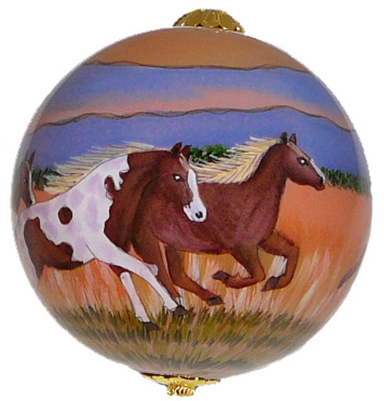"Running Horses - 3"" Ornament Set of 2"