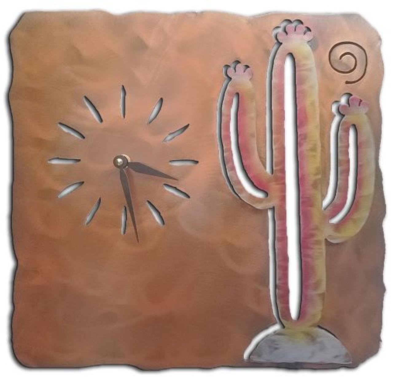 "Saguaro Cactus Clock SunSet Swirl Finish 13"""