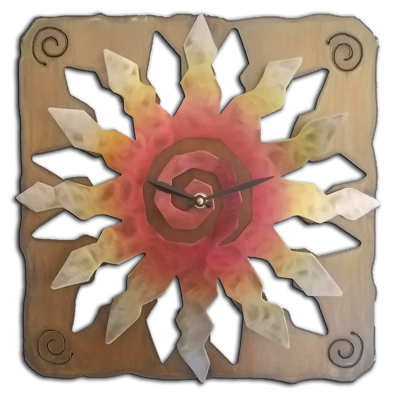 Sunburst Clock SunSet Swirl Finish 13""