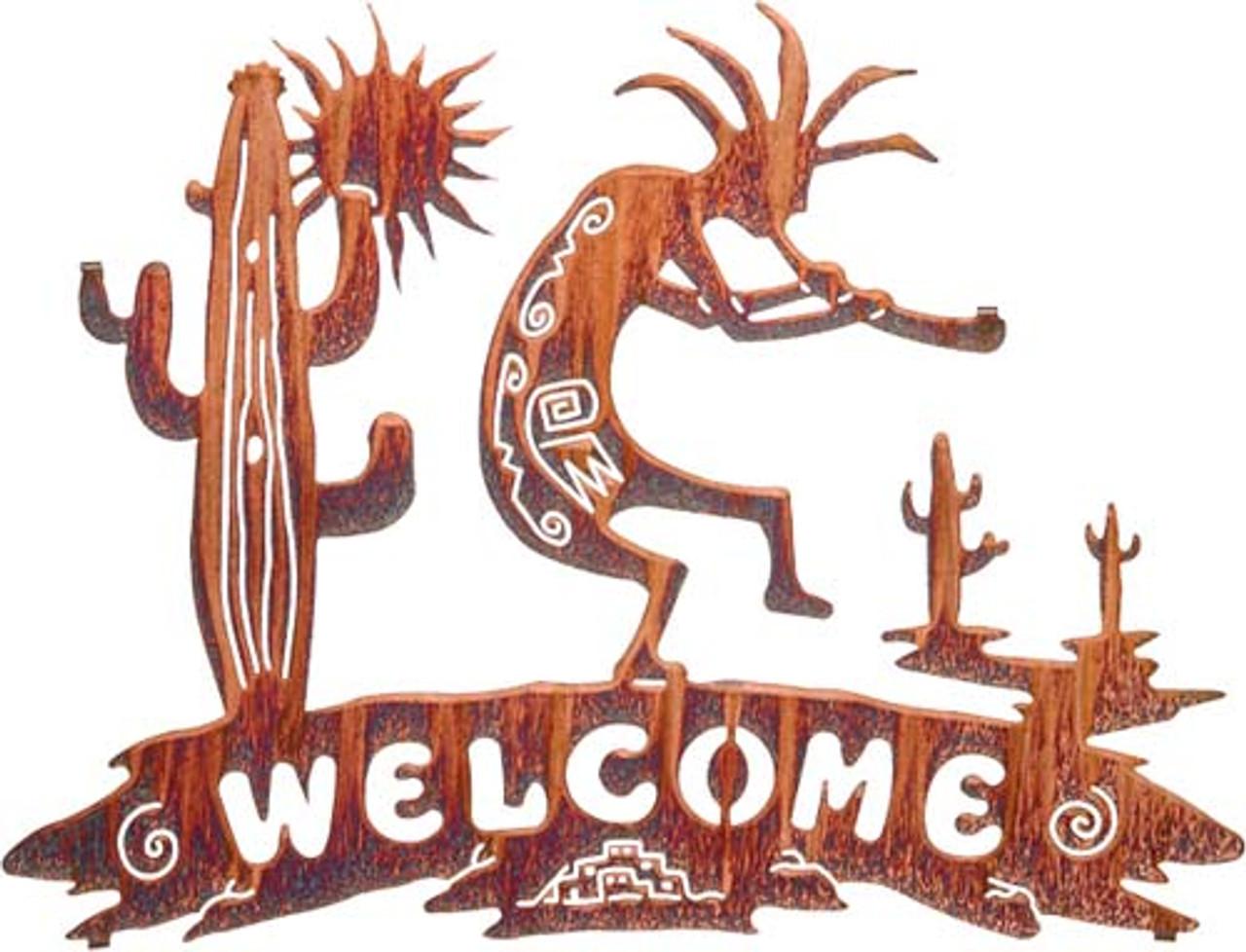 Kokopelli/Sun/Cactus Welcome