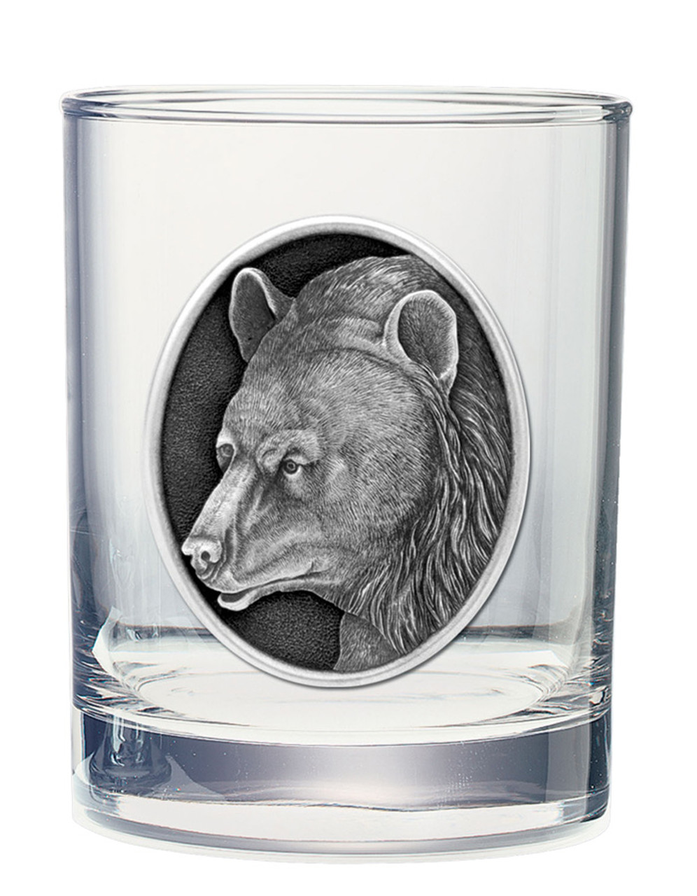 Double Old Fashioned Glass with Wildlife Pewter