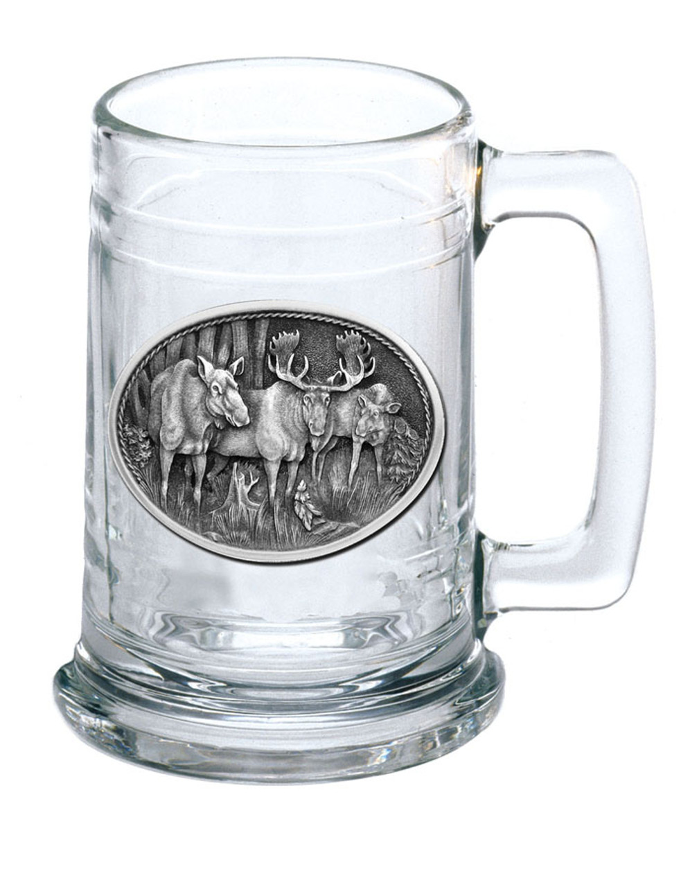 Glass Stein 15oz with Wildlife Pewter