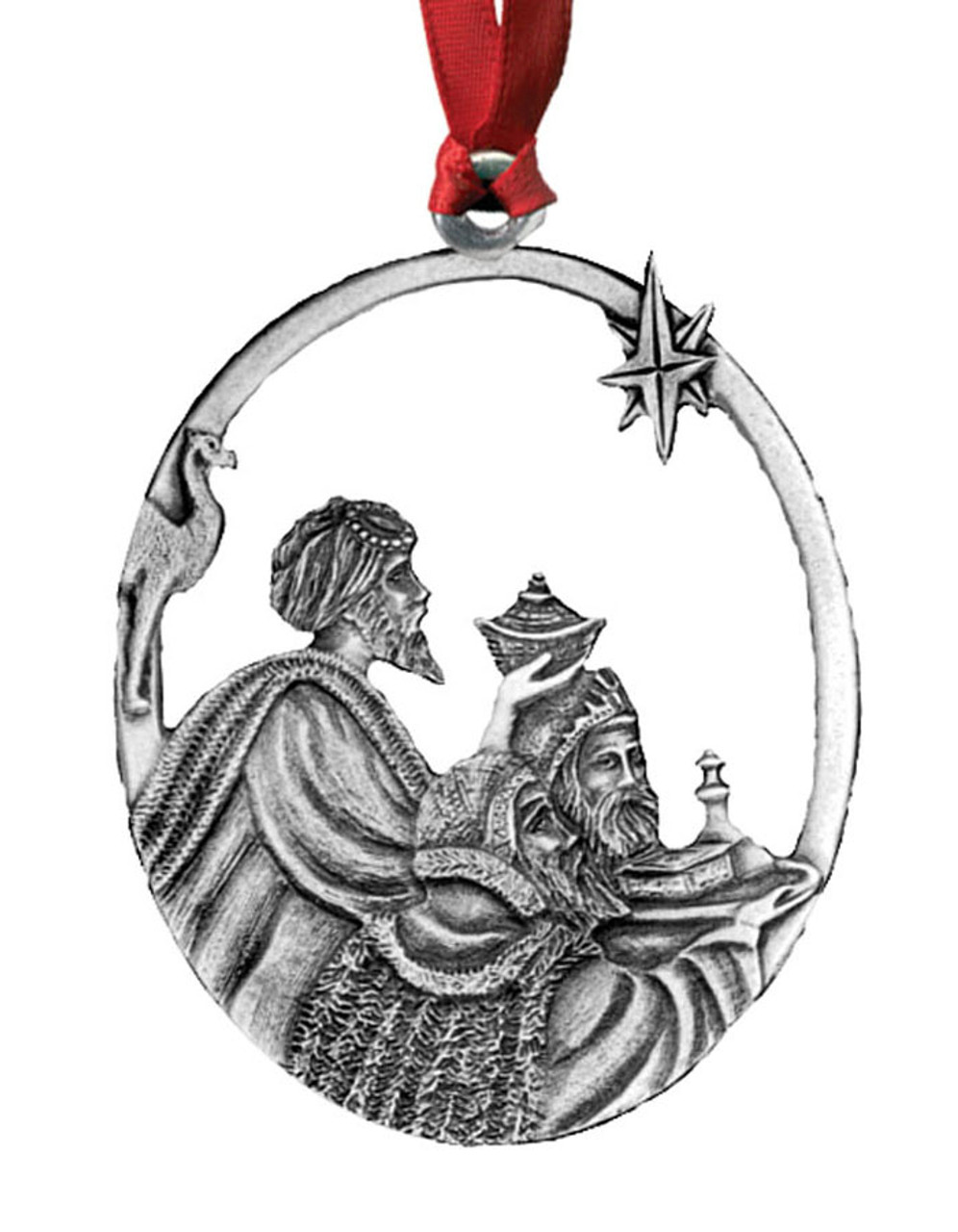 Wise Men Pewter Christmas Ornament - Set of 4