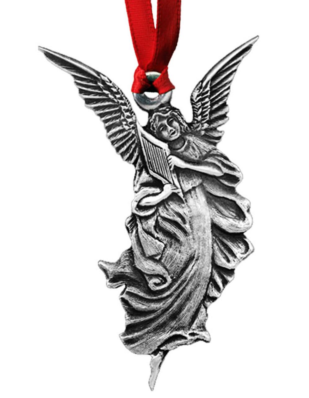 Harp Angel Pewter Christmas Ornament - Set of 4