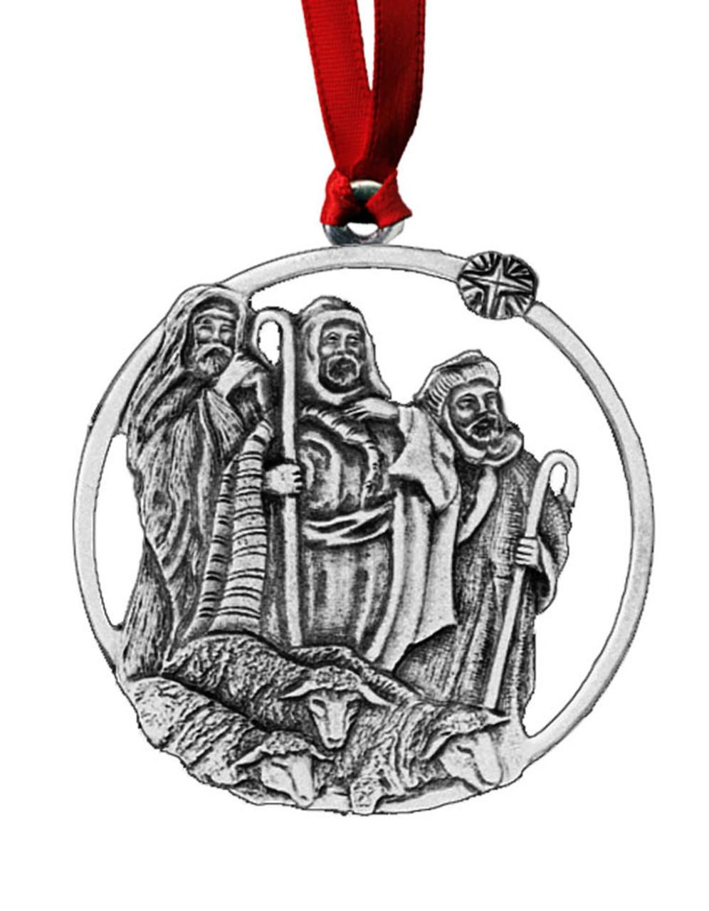 Shepherds Pewter Christmas Ornament - Set of 4