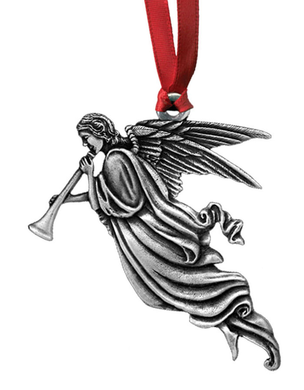 Trumpet Angel #1 Pewter Christmas Ornament - Set of 4