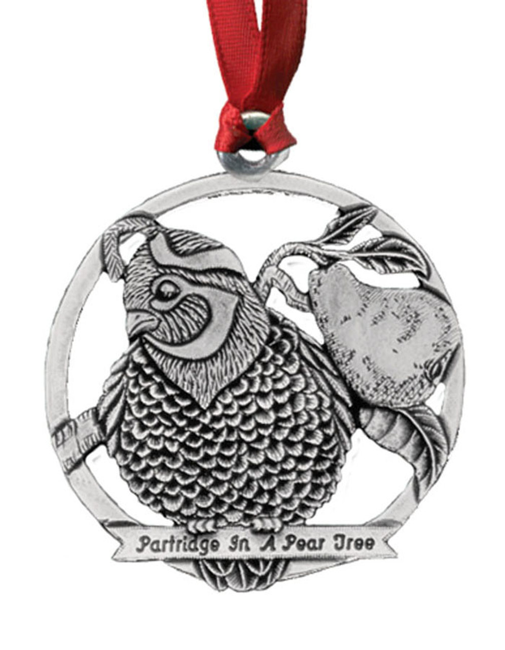 Partridge in a Pear Tree Pewter Christmas Ornament - Set ...