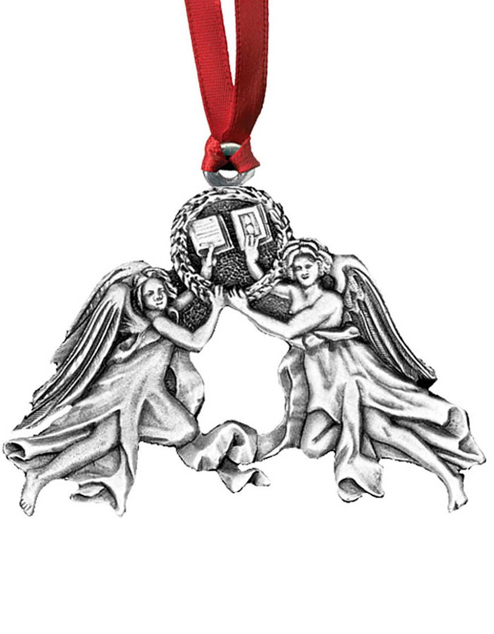 Angels with Books Pewter Christmas Ornament - Set of 4