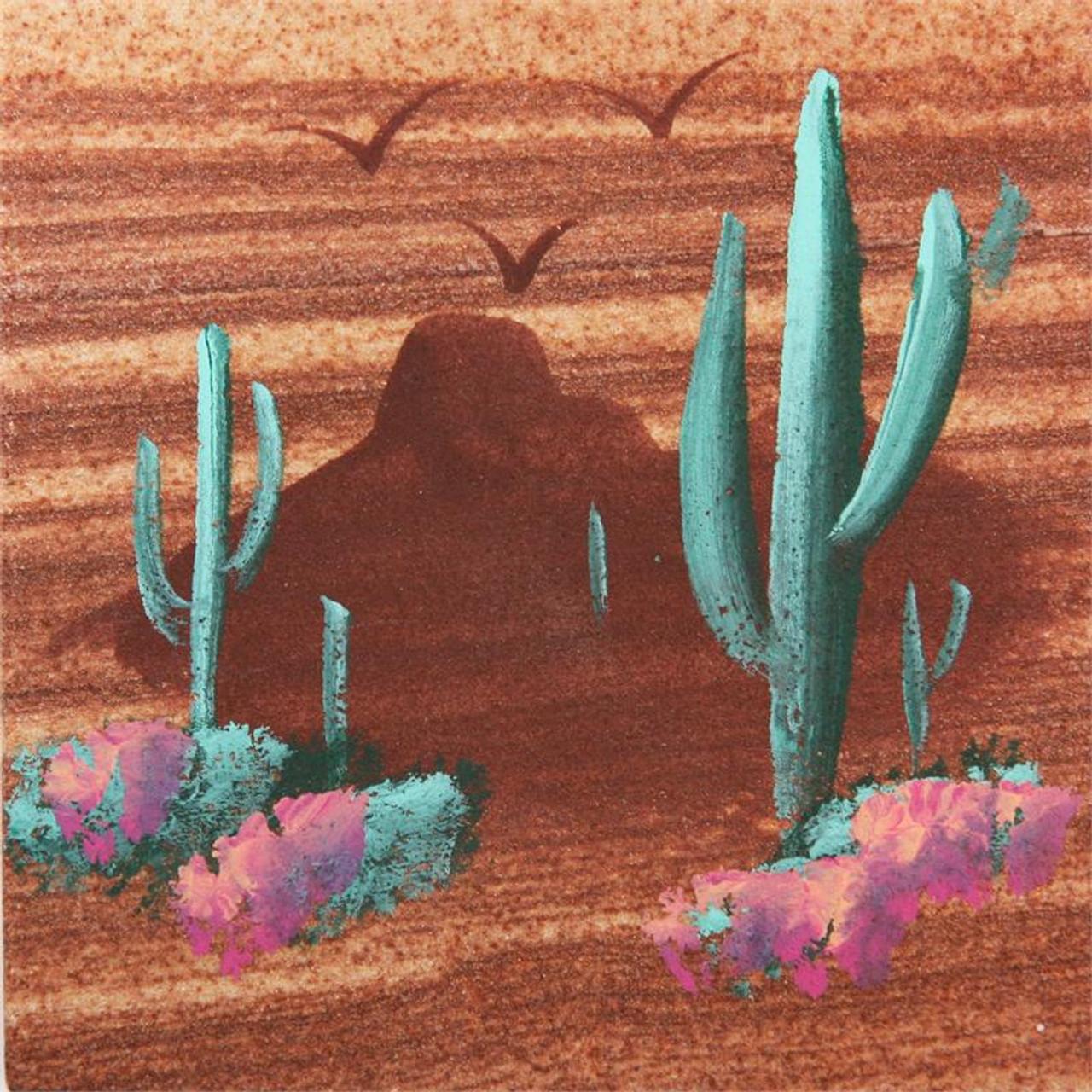 Hand Painted Saguaro Coasters - Set of 4