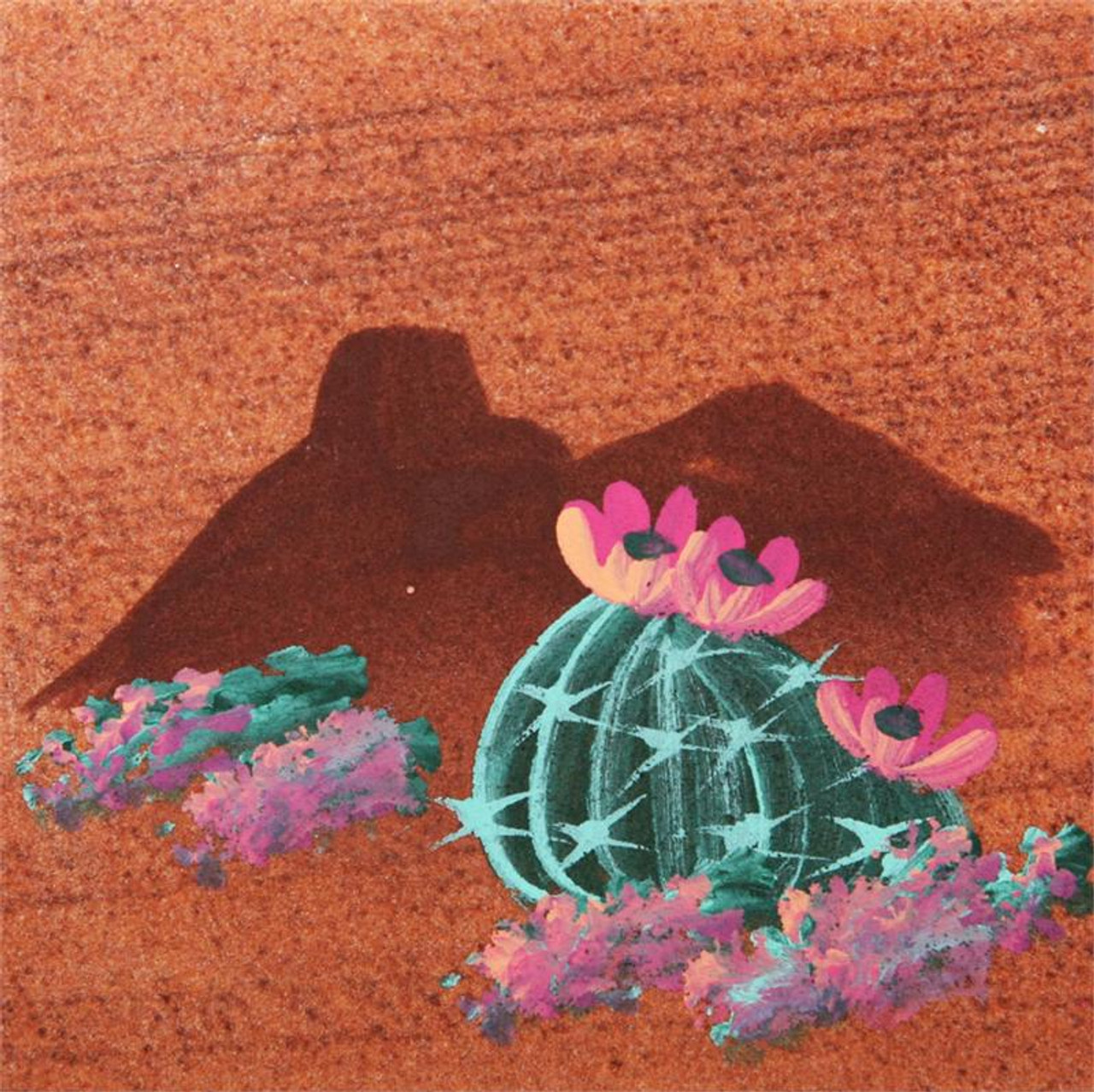 Hand Painted Flower Cactus Coasters - Set of 4