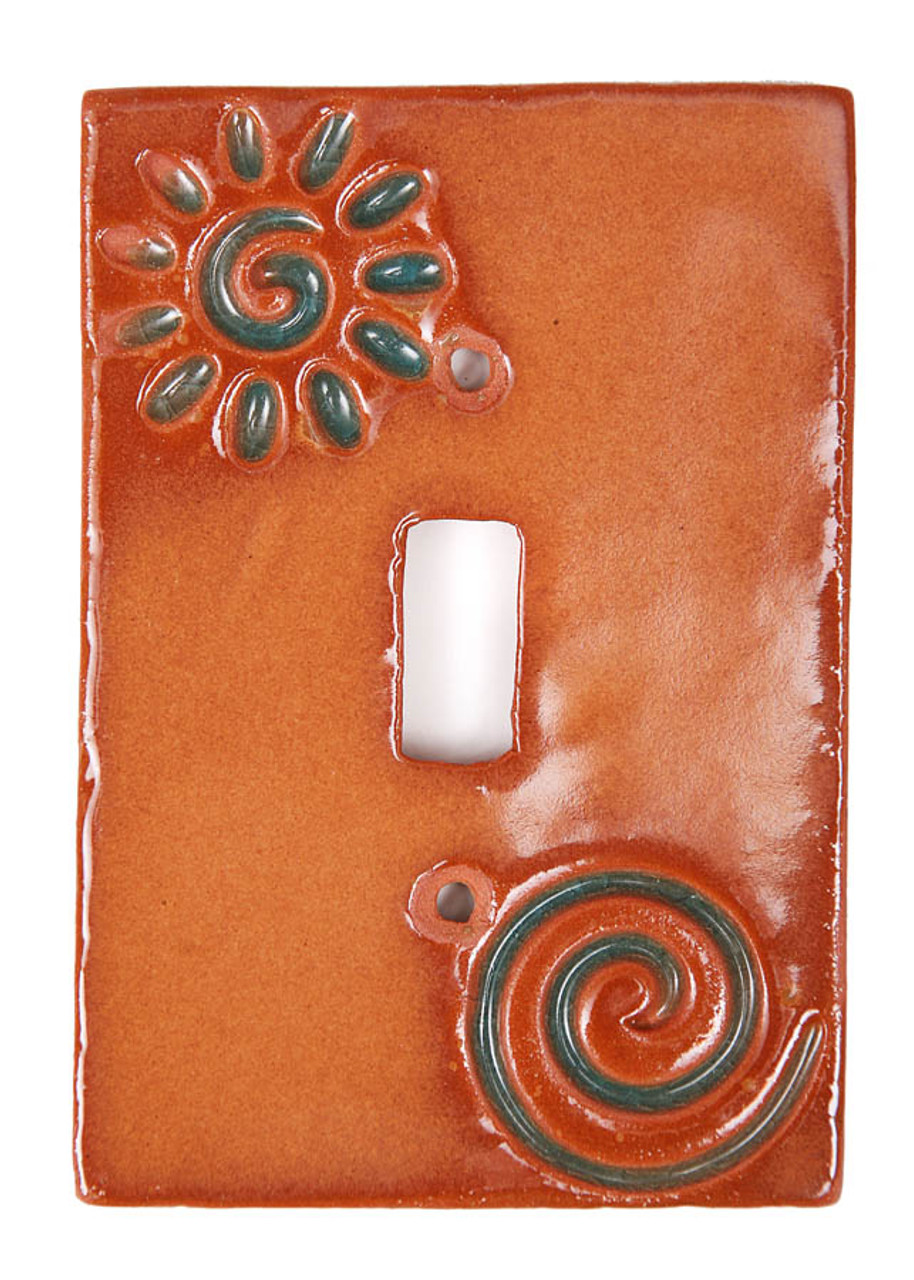 Stamp Swirl with Turquoise Switch Plate Cover