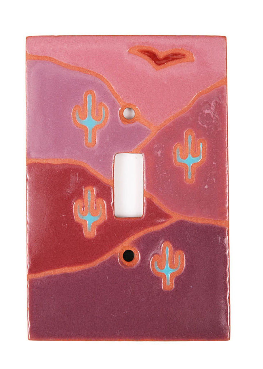 Muave Cactus Scene Switch Plate Cover