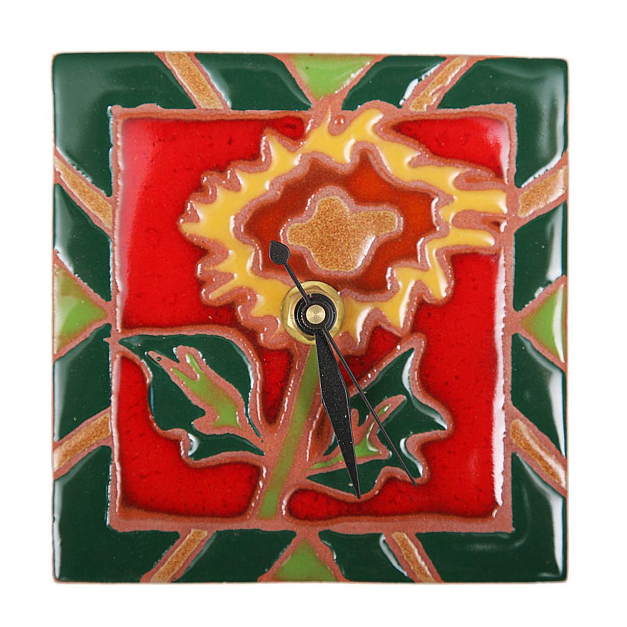Red Flower Desk Clock