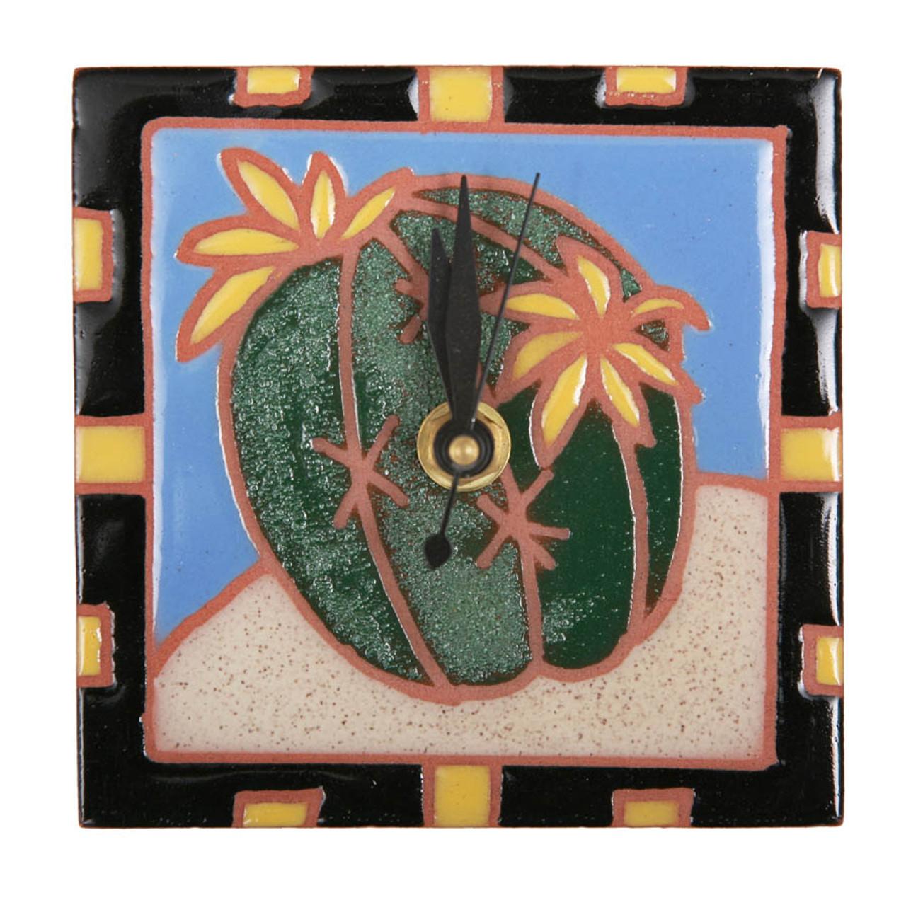 Barrel Cactus Blooms Desk Clock