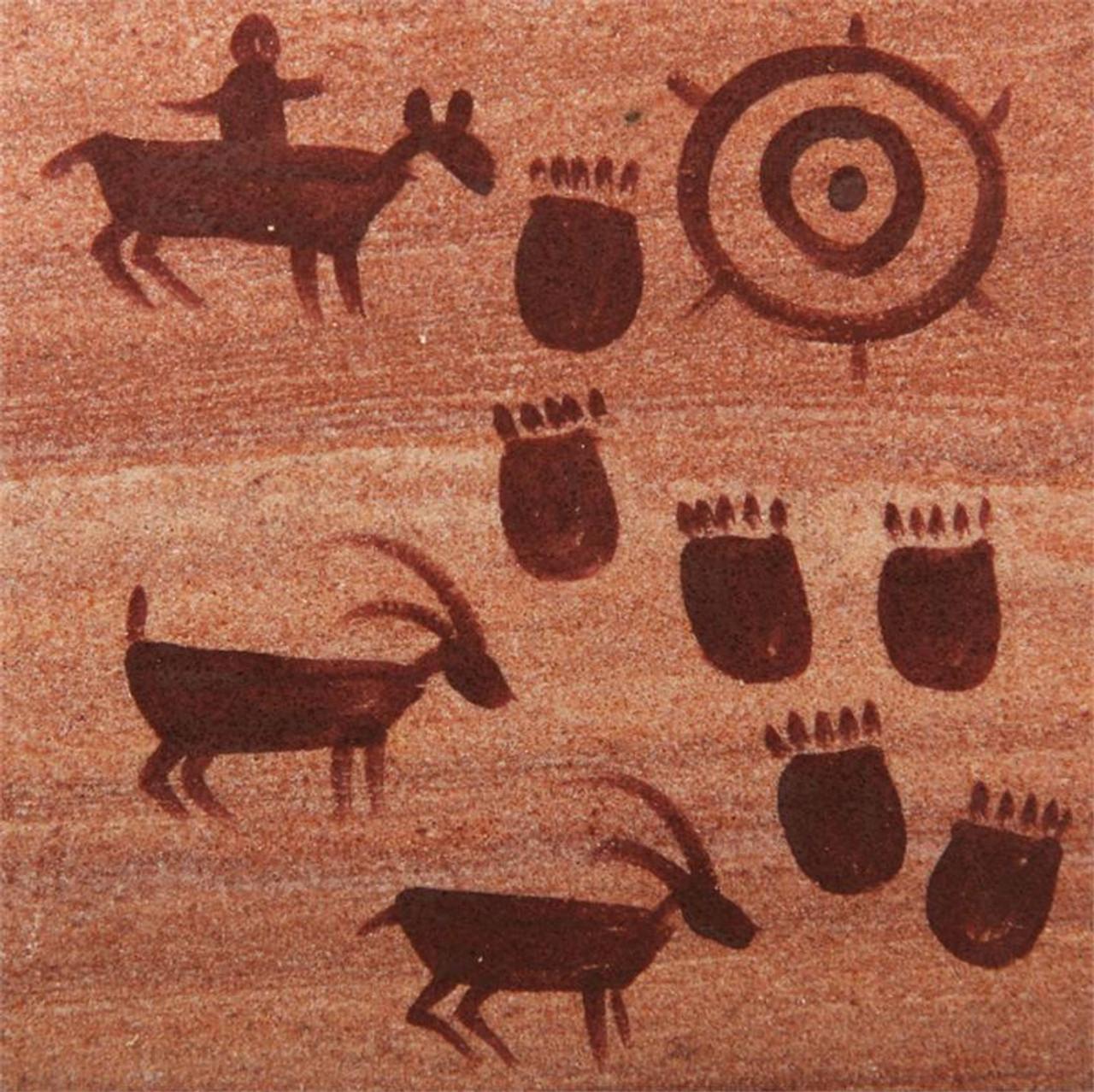 Hand Painted Petroglyphs Coasters - Set of 4