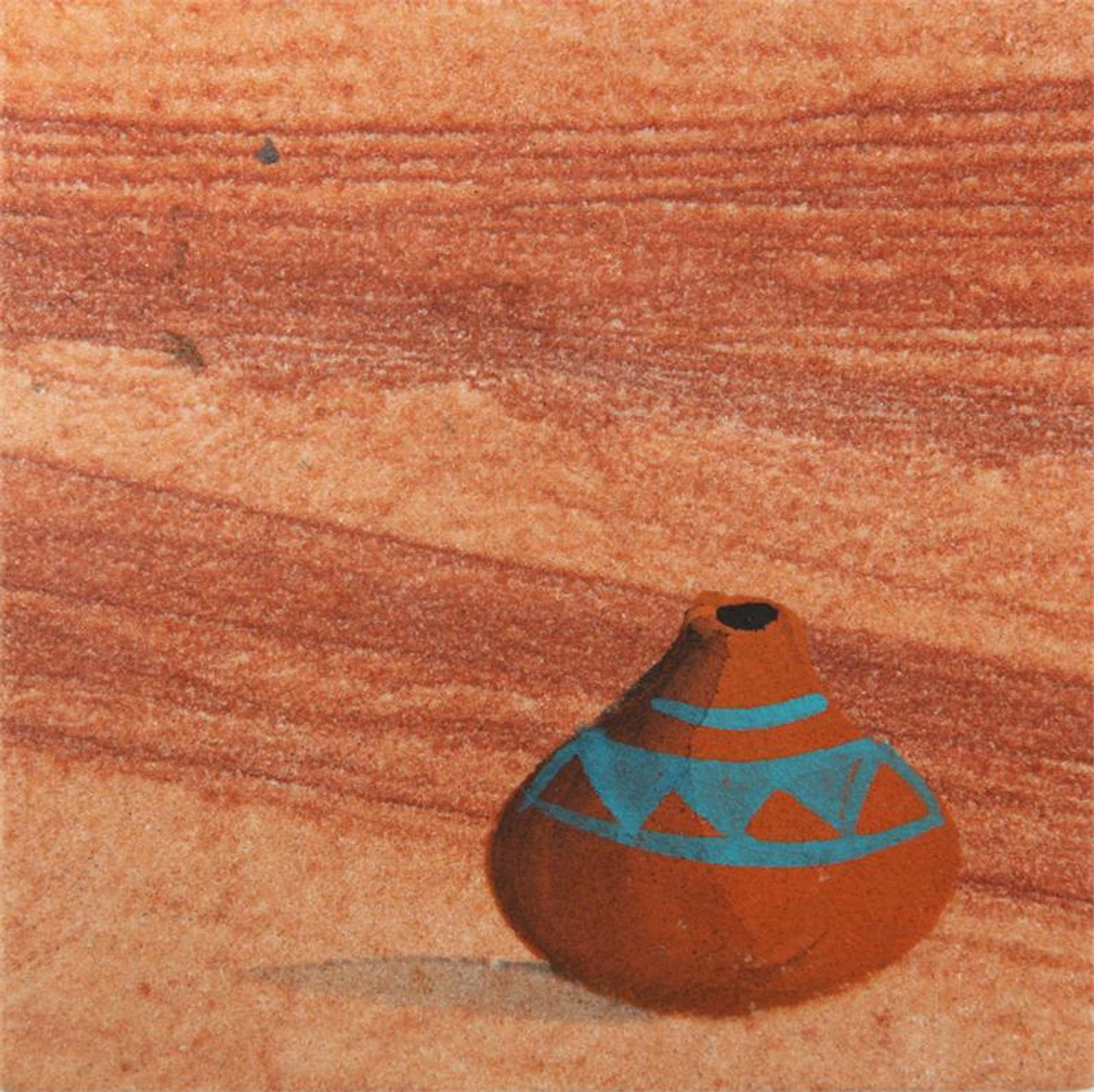 Hand Painted Indian Pottery Coasters - Set of 4