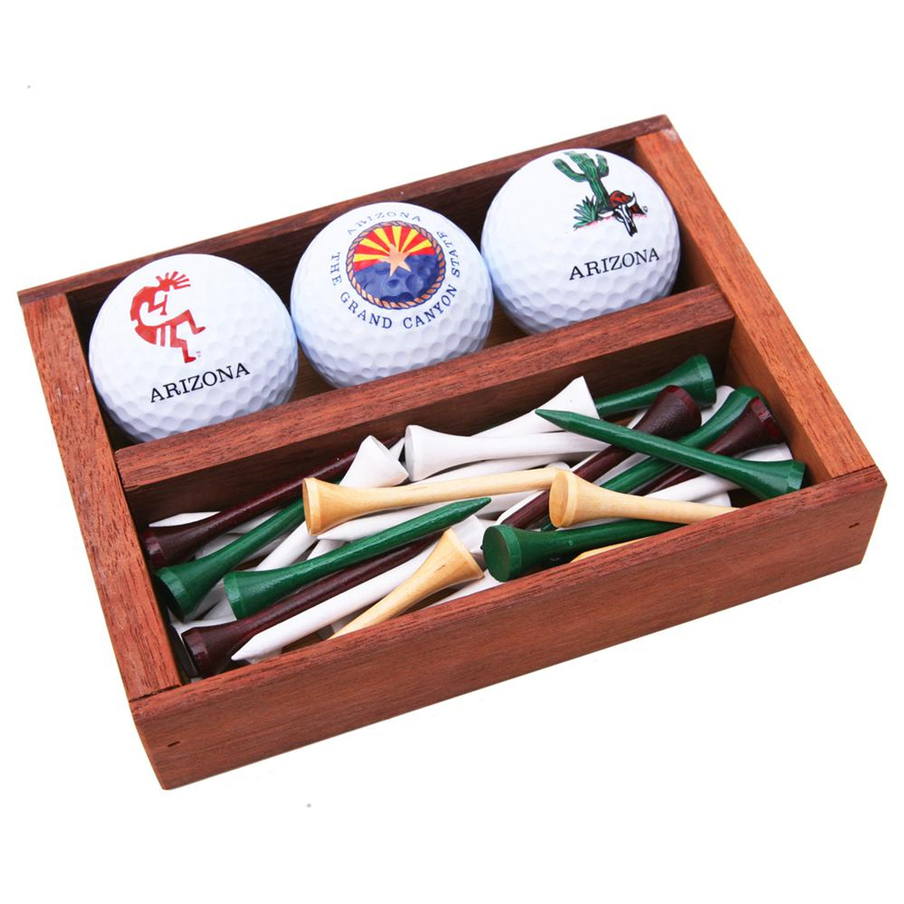Arizona Golf Balls & Tees in Wood Box
