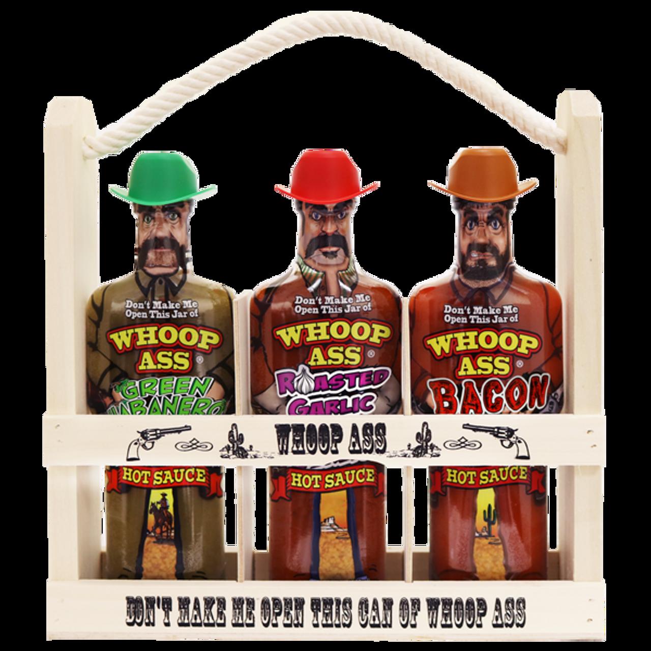 Whoop Ass Hot Sauce Wooden Crate Gift Set