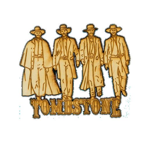 Tombstone Gunmen Wood Magnet