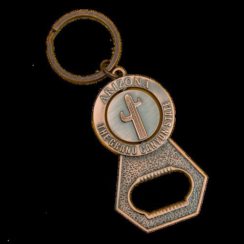 Copper Cactus / Kokopelli Spinner Bottle Opener Keychain