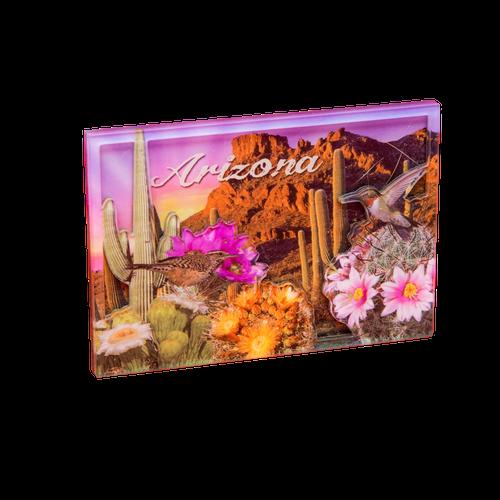 Pink Sky 3D Saguaros Magnet