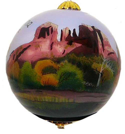 "Sedona Red Rock crossing - 3"" Ornament Set of 2"
