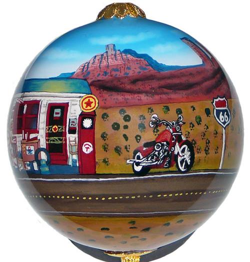 "Route 66 Corvette/Motorcycle - 3"" Ornament Set of 2"