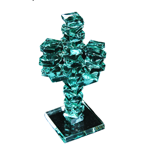 "Stacked Glass Cactus 4"" w/Glass Base"