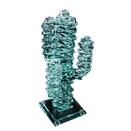 "3-Arm Stacked Glass Cactus 7"" w/Glass Base"