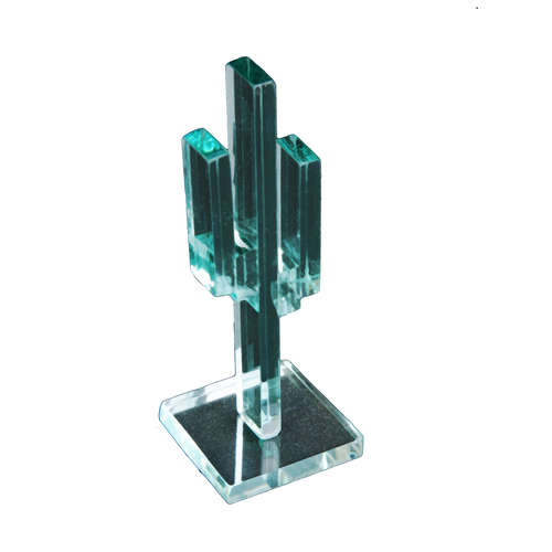 "Vertical Glass Cactus 4"" w/Glass Base"