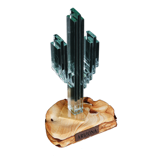 "Vertical Glass Cactus 7"" w/Sandstone"