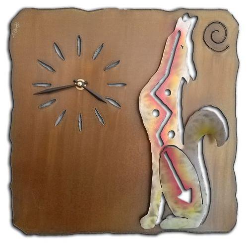 "Howling Coyote Clock SunSet Swirl Finish 13"""