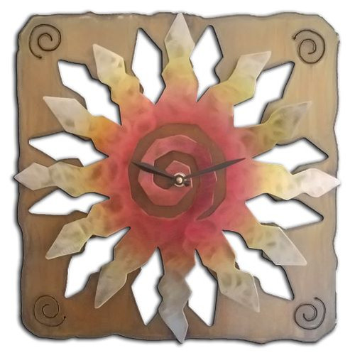 "Sunburst Clock SunSet Swirl Finish 13"""